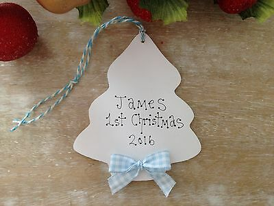 Personalised Baby`s 1st Christmas Tree Decoration Wooden Ornament Gift Keepsake