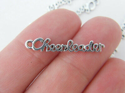 BULK 30 Cheerleader charms antique silver tone SP86