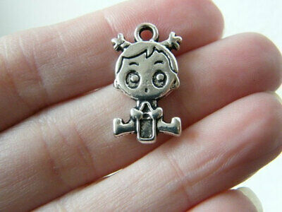 6 Baby Girl Charms Antique Silver Tone So Cute 2 Sided SC3186