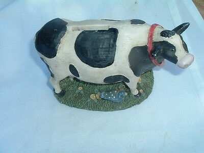 Vintage Antique Hand Carved Wooden Cow Figure Bank Big 7""
