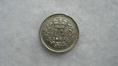 1843 Queen Victoria silver three halfpence High grade. (H124)