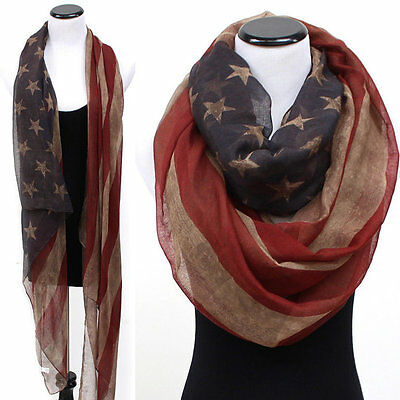Vintage Patriotic USA American Flag regular/infinity scarf/ wrap/Kimono(USA sell