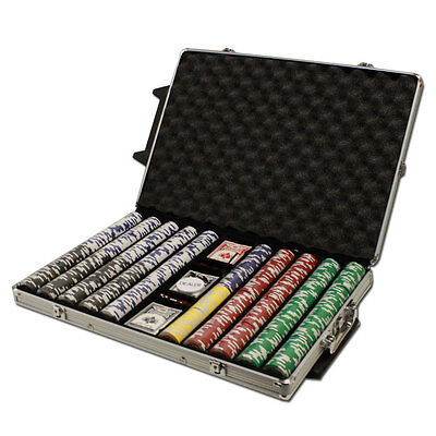 NEW 1000 Tournament Pro 11.5 Gram Clay Poker Chips Set Rolling Case Pick Chips