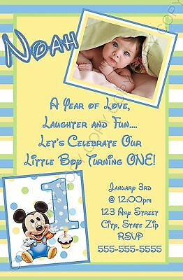 Mickey Mouse 1st Birthday Invitation Yellow 8 Pk Personalized
