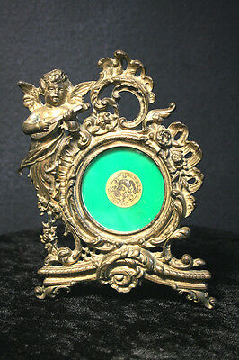 Victorian Heavy Ornate Cherub Gold Tone Metal Round Easel Picture Frame