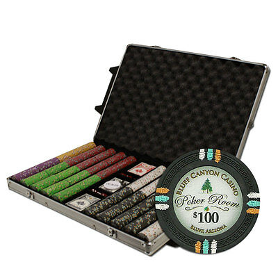 NEW 1000 Bluff Canyon 13.5 Gram Clay Poker Chips Set Rolling Case Pick Chips