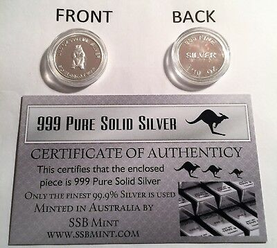 """Silver Grizzly Bear"" 1/10th OZ 99.9% Solid Silver Bullion Coin (Gr8 Investment)"
