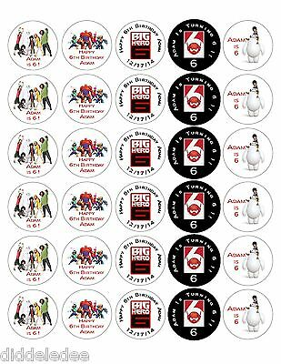 60 Big Hero 6 Six Stickers Lollipop Labels Party Favors 1 1/2 inch Personalize