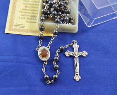 Hematite Rosary beads Holy Land Jerusalem Holy Soil Madonna Child cross crucifix