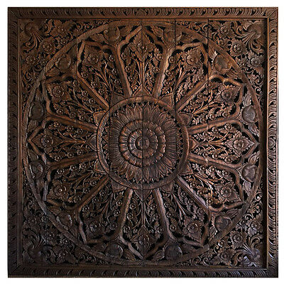 8x8 ft. Stained Lotus Teak Wood Carving Home Wall Panel Mural Decor Art 1 gtahy