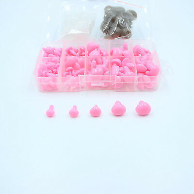 1Box(100pcs) 5 sizes Pink Plastic Safety Nose Triangle For Doll Teddy Puppet