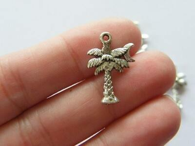 BULK 50 Palm tree charms tibetan silver T25