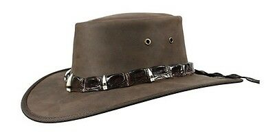 Barmah Crocodile Leather and 5-Teeth Band on Fullgrain Cowhide Leather Hat