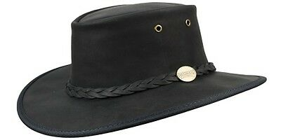 Barmah Foldaway Bronco Cowhide Leather Hat - Black
