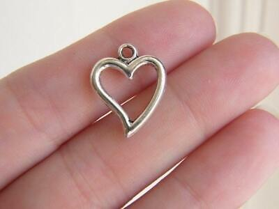 BULK 50 Heart charms antique silver tone H1