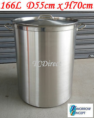 166L Commercial Stainless Steel Stock Pot Saucepan with Lid (D550xH700)