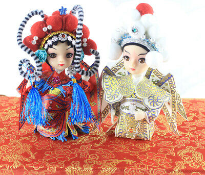 The Chinese Peking Opera 2PCS Doll MU GuiYing Lady Hero Yang Zongbao Q version