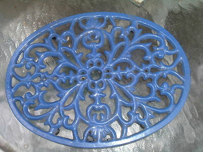 Vintage Large Oval French Cobalt Blue Enamel Wrought Iron Trivet Wall Plaque