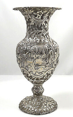 Loring Andrews LANDSCAPE Sterling Vase Pheasants and Castles