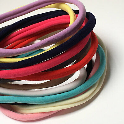 Pack of 5 Nylon Skinny Elastic Headbands - 24 colours to choose from