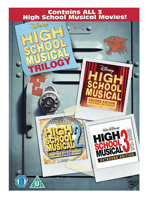 High School Musical Trilogy Dvd Triple Pack Set Part 1 2 3 Complete New Uk Box