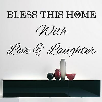 BLESS THIS HOME with Love & Laugter - wall art / wall decal vinyl sticker quote