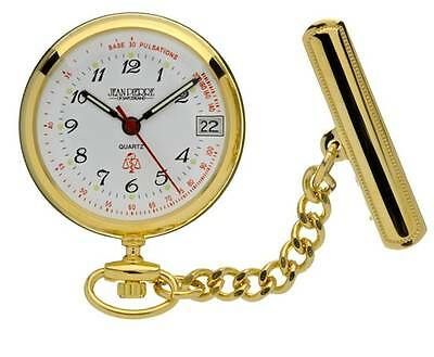Jean Pierre Gold Plated Nurses Fob Watch Quartz Calendar Movement. L554PQ