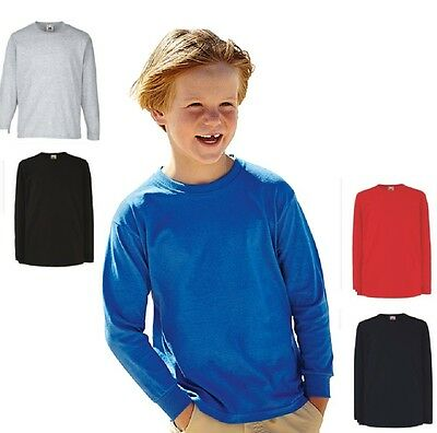 Fruit of the Loom Plain Cotton Kids Childs Girls Boys Long Sleeve Tshirt T-Shirt