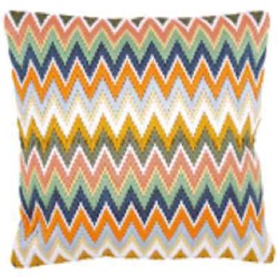 Pastel Zigzag - Long Stitch Printed Canvas Cushion Kit-Cross Stitch-Tapestry Kit