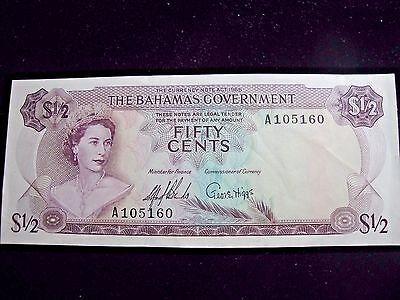 1965 The Bahamas $1/2 One-Half Dollar Note ~ Serial #A105160