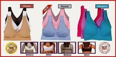 Genie Bra With Removable Pads COMFY MANY COLORS ALL SIZE SET OF 3 Bras with pads