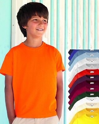 Fruit of the Loom Plain Cotton Kids Childs Girls Boys Childrens Tshirt T-Shirt