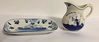 """Vintage Delft Blue Handpinted 6"""" Tray & 4"""" Pitcher, Solvang, CA, Lot Of Two"""