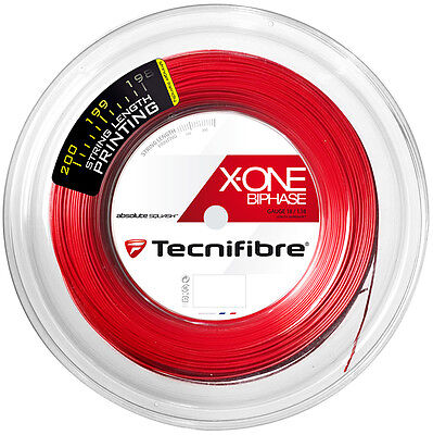 Tecnifibre X-One Biphase Squash String - 1.18Mm - 200M Reel - Red - Rrp £210