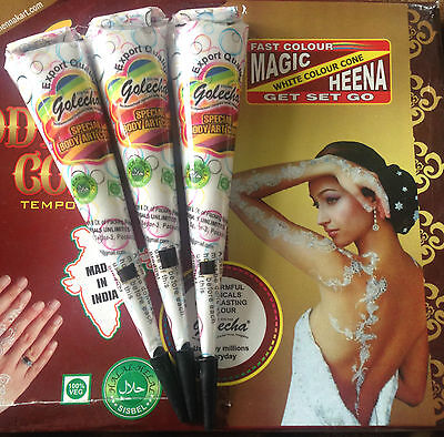 3 White Indian Henna Golecha Temporary Tattoo Paste Cone Body Art Party Bridal