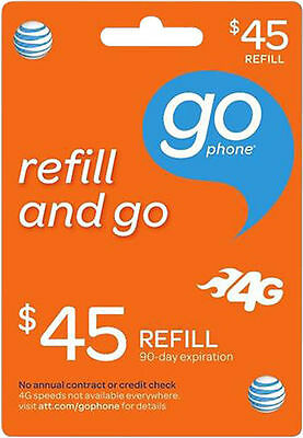 AT&T GoPhone $45 Refill.  FASTEST REFILL. Credit applied DIRECTLY to PHONE