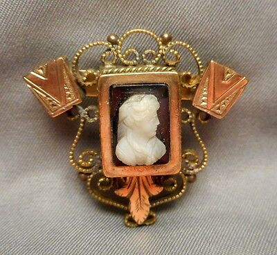 Antique Victorian Brooch - Gold Filled w/ White on Black Hard Stone Lady Cameo