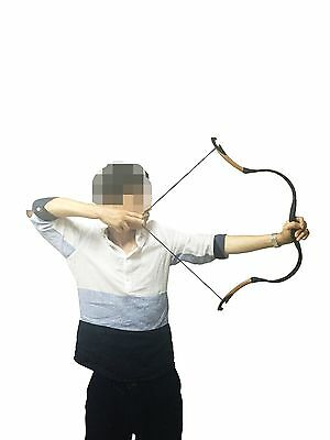 10-40# Chinese Black Cow Leather Mini Bow Archery Hunting Practice Horsebow