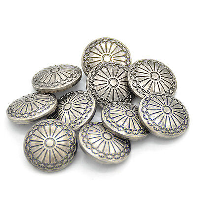 10 Pcs DIY  Sewing Fastener  Flower Pattern Shank Buttons Metal Craft  23mm