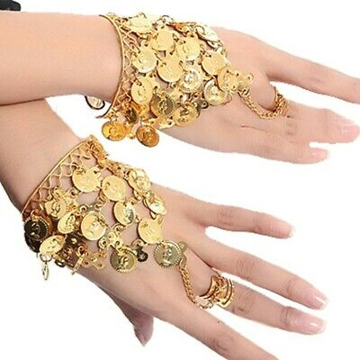AU Hand Rings Belly Dance Coins Bracelets Dancing Bollywood Hand Accessories