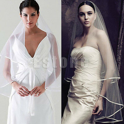 New White/Ivory 2 Layer Wedding Bridal Elbow Veil Length Satin Edge With Comb