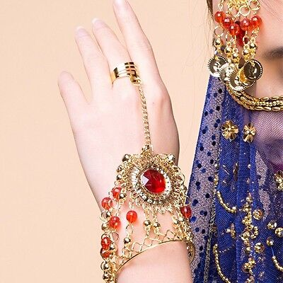 AU Indian Accessories Red Gem Hand Ring Golden coins Bride Bracelets