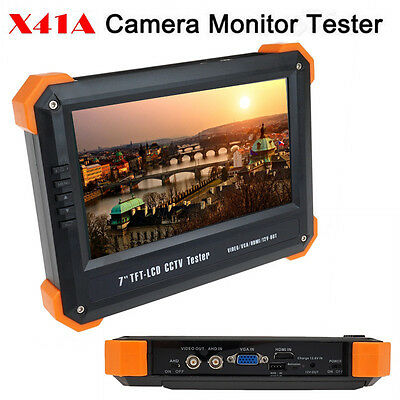 "X41A 7""TFT LCD Monitor HD-AHD+HDMI+VGA+CVBS Camera Video CCTV Test Tester 12V"