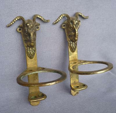 Vintage french pair of hooks cup tooth brush holder bronze early 1900's ram head