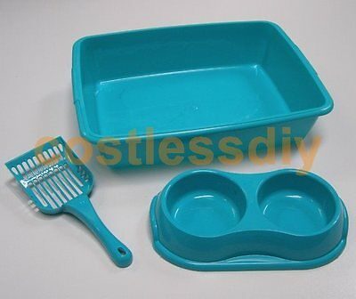 Whitefurze 48cm Aqua Plastic Cat Litter Tray & Scoop Double Food Water Bowl Set