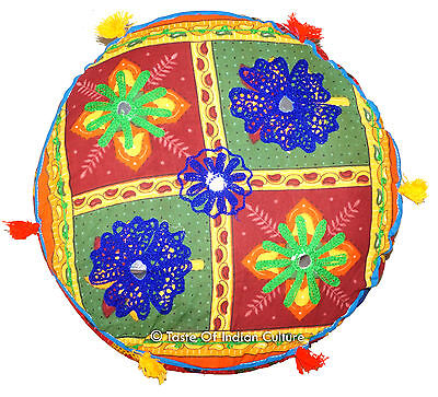 """16"""" Round Embroidered Cushion Seat Floor Ottoman Pouf Stool Boho Cover INDIAN"""