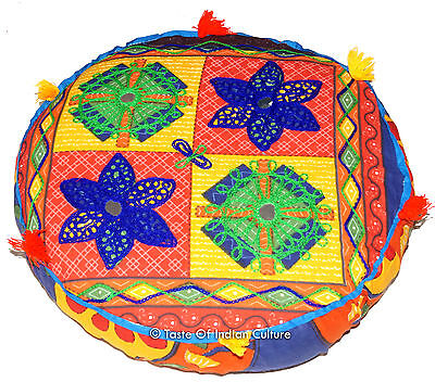 """16"""" Round Embroidered Cushion Seat Floor Ottoman Pouf Stool Cover INDIAN Decor"""