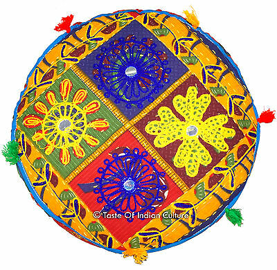 """16"""" Round Cushion Seat Floor Ottoman Pouf Stool Cover INDIAN Ethnic Decorative"""