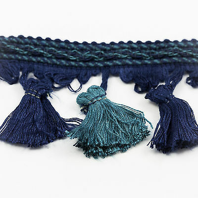 Clearance! 2.5 inch Wide, Navy & Airforce Blue Tassel Fringe - 25 Metres