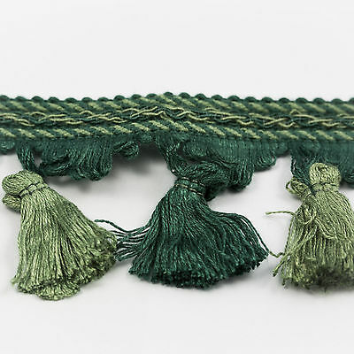 Clearance! 2.5 inch Wide, Light & Dark Green Tassel Fringe - 25 Metres